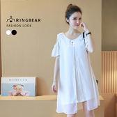 假二件--簡約優雅線條雪紡假兩件圓領露肩短袖連身裙(白.黑XL-3L)-D460眼圈熊中大尺碼