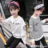 女童T恤 女童長袖t恤純棉新款體恤打底衫兒童洋氣中大童秋裝女孩上衣