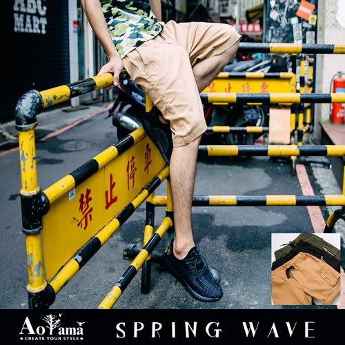 短褲 【T611746】街頭風MA-1口袋設計彈力鬆緊休閒短褲 青山AOYAMA