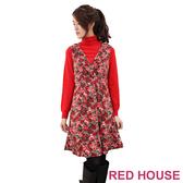 【RED HOUSE-蕾赫斯】深V領玫瑰花絨布背心洋裝(不含腰帶/毛領)