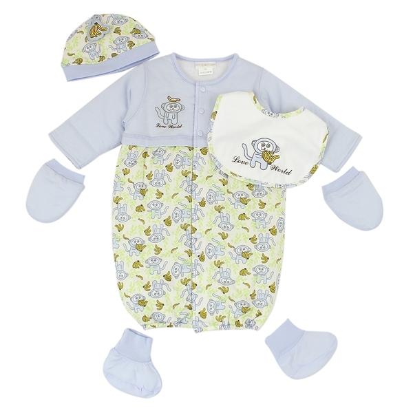 【愛的世界】純棉小猴子鋪棉兩用嬰衣五件組禮盒/6個月-台灣製- --禮盒推薦