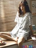 家居服 2021新款睡衣女夏季薄款純棉短袖日系卡通可愛甜美家居服兩件套裝 寶貝 免運