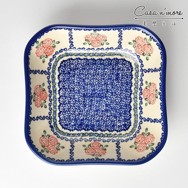 波蘭陶 漫野薔薇系列 方形深餐盤 陶瓷盤 菜盤 沙拉盤 水果盤 焗烤盤 20cm 波蘭手工製【美學生活】