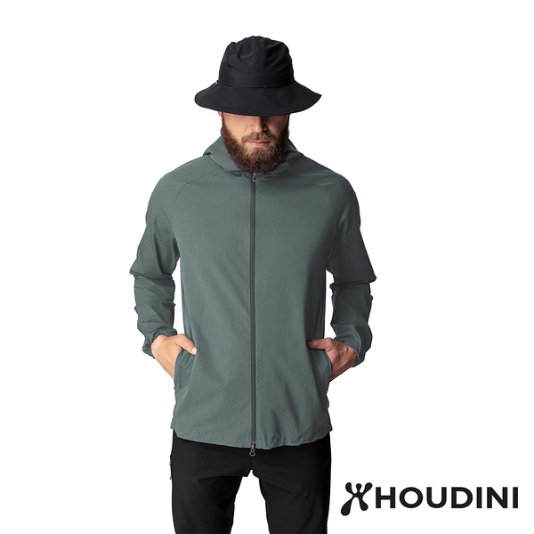 【瑞典 Houdini】Daybreak Jacket 休閒防風連帽外套 男款 深綠 #249864