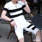 兩件套裝男士短袖T恤2019夏季新款潮流韓版休閒帥氣衣服一套男裝 QG24678『Bad boy時尚』