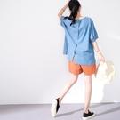 【慢。生活】後開扣寬版丹寧上衣 77112  FREE 淺藍色