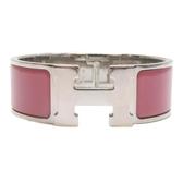 HERMES 愛馬仕 玫瑰粉色琺瑯玫瑰銀色H字寬版手環 Clic H Bracelet 【BRAND OFF】