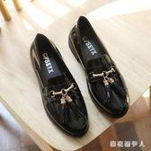 牛津鞋2019新款復古平底學院英倫風黑色一腳蹬低跟小皮鞋 QX664 【棉花糖伊人】