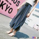 【貝貝】褲裙 雪紡 開叉 闊腿褲 高腰 垂感 寬鬆 顯瘦 洋氣裙褲