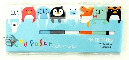 【金玉堂文具】STICK MARKER 造型便利貼 極地動物篇-北極熊 企鵝 海獅 HT1210-365(淺藍) 標籤貼