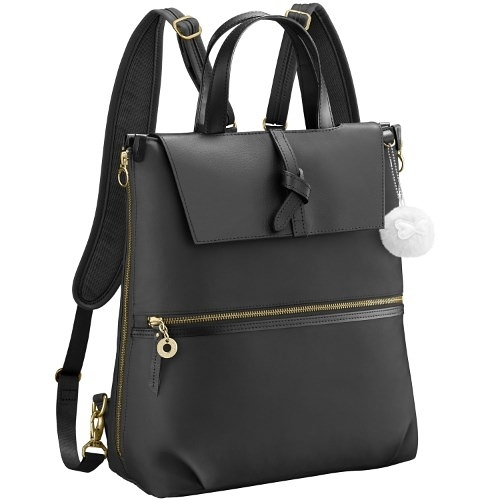 Kanana卡娜娜 多功能尼龍拼接皮革大型手提後背兩用包(黑色)241020-01