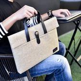 商務手提包男女通用經典公文包14寸筆記本休閒大容量電腦包蘋果包   蓓娜衣都