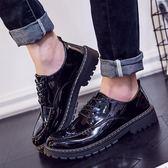 短靴男秋季英倫大頭工裝馬丁靴低幫休閒皮鞋漆皮亮面板鞋男靴皮靴 維多原創 免運