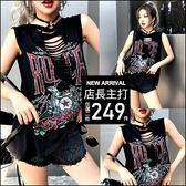 克妹Ke-Mei【AT46555】獨家,歐美單!1986玫瑰字母成品印破損背心洋裝