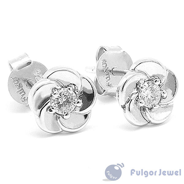FU銀飾 意大利流行飾品 聖誕禮品 贈品 耀眼玫瑰925純銀耳環【Fulgor Jewel】