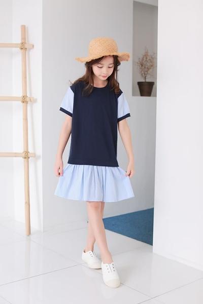 大童 純棉 質感海軍風藍條紋洋裝 春夏童裝 女童洋裝 女童長版 女童連身裙 女童傘裙