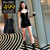 克妹Ke-Mei【ZT57822】原單!appare品牌龐克開襟拉鍊插釦式軍風工作褲裝