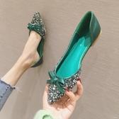 單鞋女2020春款韓版婚鞋紅色平底鞋尖頭亮片仙女伴娘鞋大碼四季鞋 京都3c