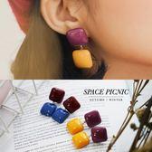 耳環 Space Picnic|撞色方塊垂墜耳環(現+預)【C18122008】