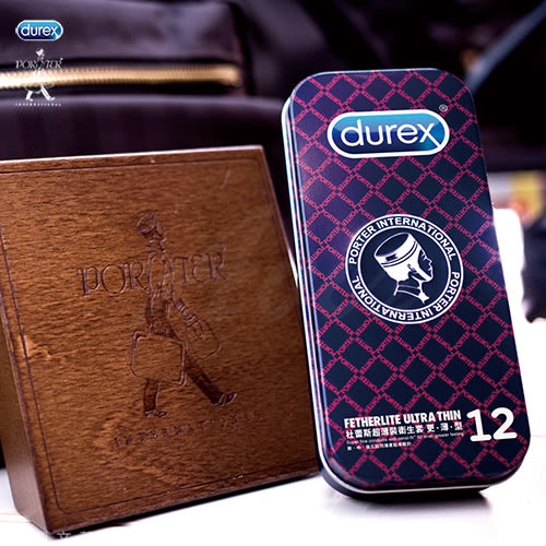 情趣用品-避孕套 Durex杜蕾斯 x Porter 更薄型保險套鐵盒限定版 12入 黑紅格紋 +潤滑液1包