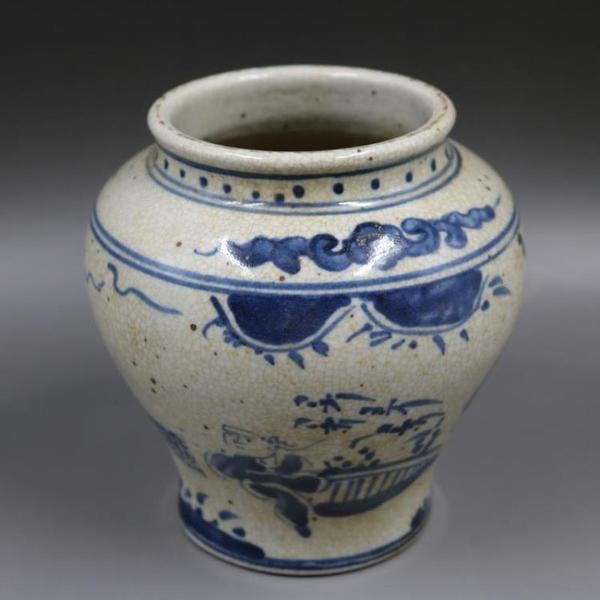 明青花人物天字罐缸全手工老貨收藏包老瓷器家居裝飾擺件古董古玩1入