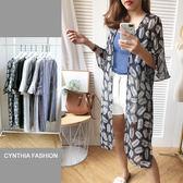 長版罩衫.Cynthia 星希亞.長版多花色喇叭袖雪紡罩衫(7色)198【SPJ3060】