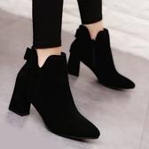 女靴子2018秋冬季新款后蝴蝶結磨砂短筒短靴粗跟拉鏈馬丁靴高跟鞋