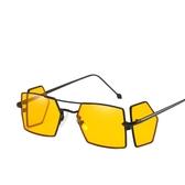 歐美時尚金屬四鏡片太陽鏡 擋風海洋片墨鏡【五巷六號】y85