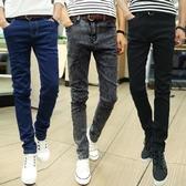 牛仔褲—夏季薄款男士牛仔褲男修身小腳褲男生正韓潮流男褲青年黑色褲子男