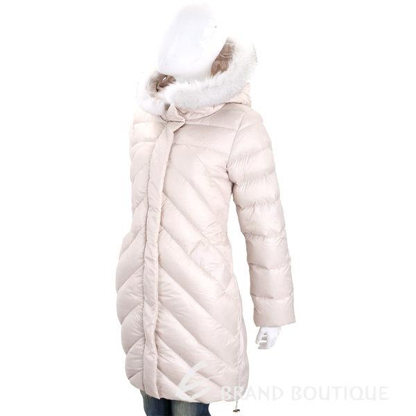 MARELLA 米白色狐狸毛滾邊連帽羽絨外套 1710595-03