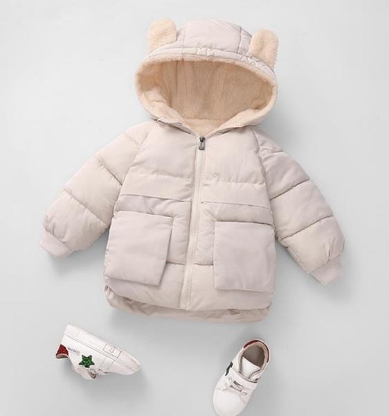 新款兒童純色羽絨棉服男女童寶寶短款加絨加厚棉襖反季連帽外套冬 滿天星