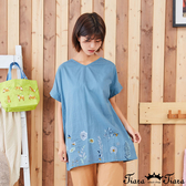 【Tiara Tiara】百貨同步新品ss 下擺微刺繡印花上衣(藍綠/卡其)