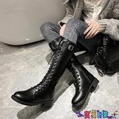 長筒靴 2021秋冬季新款中筒長筒高筒馬丁女鞋百搭瘦瘦騎士不過膝長靴 寶貝計畫