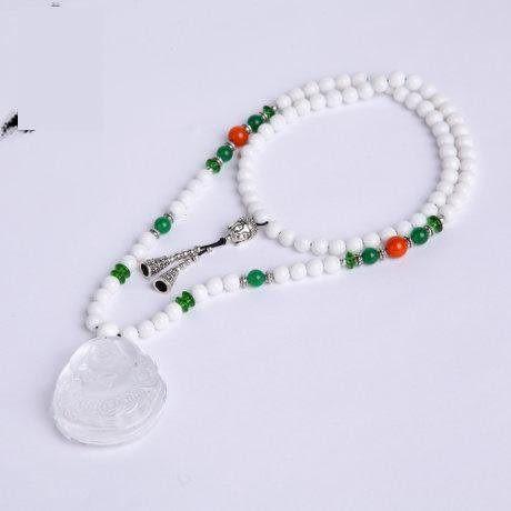 白硨磲水晶 佛頭鏈水晶觀音鏈