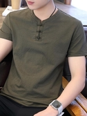 優一居 棉麻上衣男 素色復古短袖t恤(16色 M-5XL)