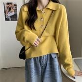 限時特銷 季新款韓版慵懶風加厚外穿毛衣寬松套頭polo領上衣女針織衫