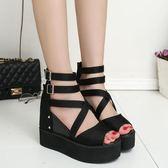 厚底涼鞋 歐美內增高坡跟魚嘴涼鞋女士松糕厚底高跟羅馬鞋 巴黎春天