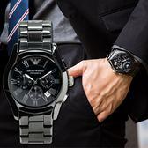 EMPORIO ARMANI 亞曼尼 AR1400 經典陶瓷三眼黑面腕錶 熱賣中!