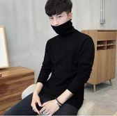 男士修身打底衫高領毛衣純色針織衫長袖韓版冬季加厚線衫男裝     韓小姐