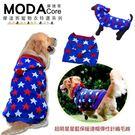【摩達客寵物系列】中大狗衣服-超萌星星藍保暖連帽彈性針織毛線