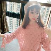 韓範毛衣針織衫秋季新款好質量粉色套頭喇叭袖網眼一字領上衣9501 ZM2F-B094-A紅粉佳