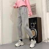休閒褲加絨保暖 秋冬褲子女裝新款高腰運動束腳休閒褲加絨加厚灰色哈倫褲衛褲 風馳