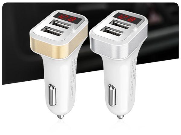 【液晶USB車充頭】車用DC 12V-24V智能輸出快速充電1A 2.1ALED顯示充電 手機平板 IPAD