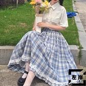 高腰半身裙女夏天格子長裙寬鬆大擺花邊裙【左岸男裝】