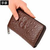 長夾錢包 韓版男士手包潮包鱷魚紋壓痕手拿包青年軟皮拉鏈長款錢包 莎瓦迪卡