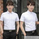 夏季白襯衫男工裝商務休閒黑青年韓版潮流職業短袖薄款襯衣寸衣服 父親節禮物