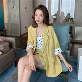 夏季2019新款西裝外套 波點吊帶 短褲套裝女網紅御姐休閒三件套