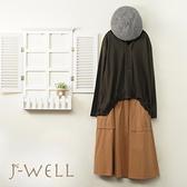 J-WELL 下擺打褶寬鬆T綁帶口袋裙二件組(組合A679 9J1070綠+9J1051駝)