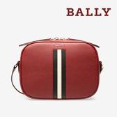【台中米蘭站】全新品 BALLY SASTRID 防刮牛皮黑白條紋相機斜背包 (6227001-紅)