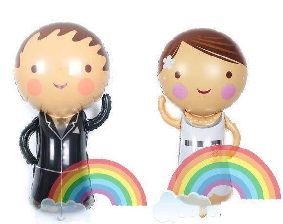 迎賓新郎新娘氣球鋁箔氣球(未充氣)/對~~求婚道具/婚禮 生日 耶誕節 尾牙佈置